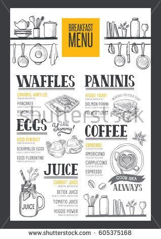 Coffee food menu for restaurant and cafe Design template with - breakfast menu template