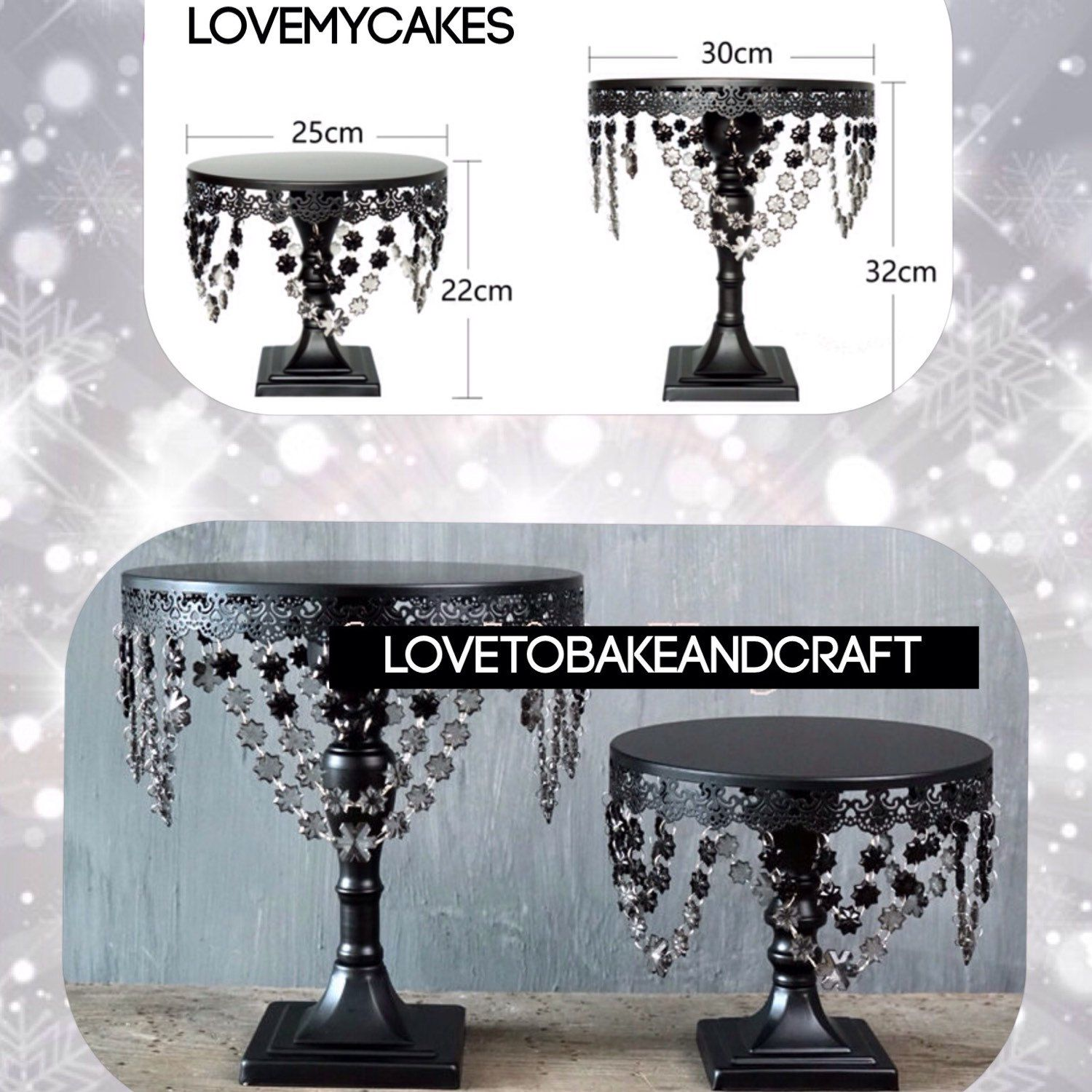 Fabulous and unusual black crystal cake stands. 2 pieces Free ...