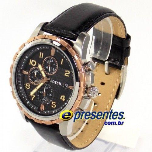 2dd39d1c278 FFS4545Z Relogio Fossil Black Leather Strap Cronógrafo Pulseira de Couro
