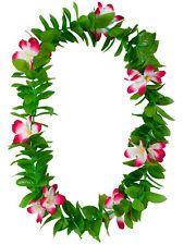 Details about Green Leaf Leis Hawaiian Garland Pink Flowers