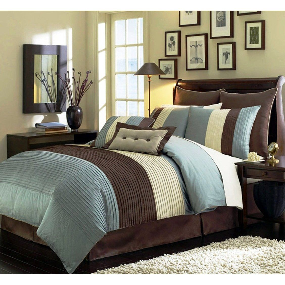 8 Pieces Luxury Stripe Comforter Blue And Brown Comforter Bed In A Bag