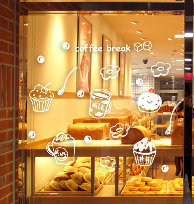 Coffee Cafe Shop Window Stickers Business Vinyl Sign Wall Decal ...