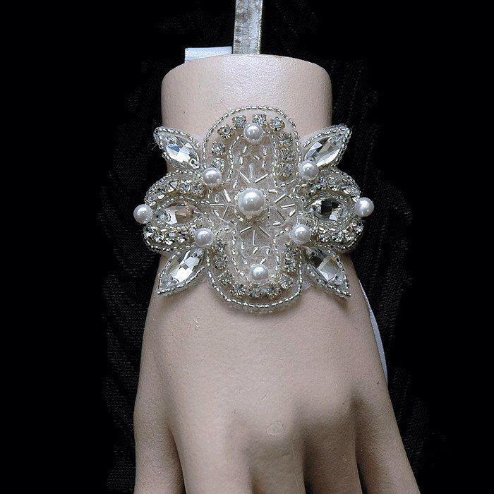 Crystal Bridal Bracelet, Rhinestone Wedding Bracelet, Crystal and Pearl Bridal Cuff Bracelet, Couture Bracelet, 1920s Jewelry, Bridal Sash by AyansiWeddingDesigns on Etsy https://www.etsy.com/listing/220150354/crystal-bridal-bracelet-rhinestone