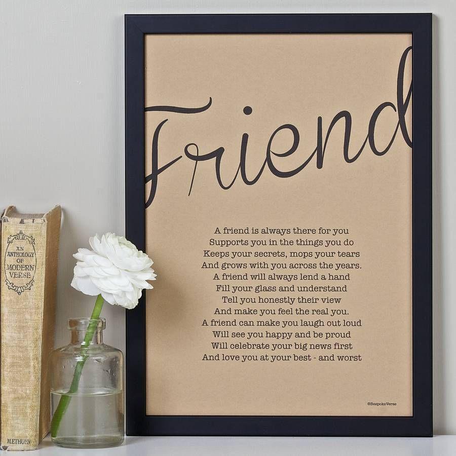 Friendship Poem Print Vintage Style By Bespoke Verse