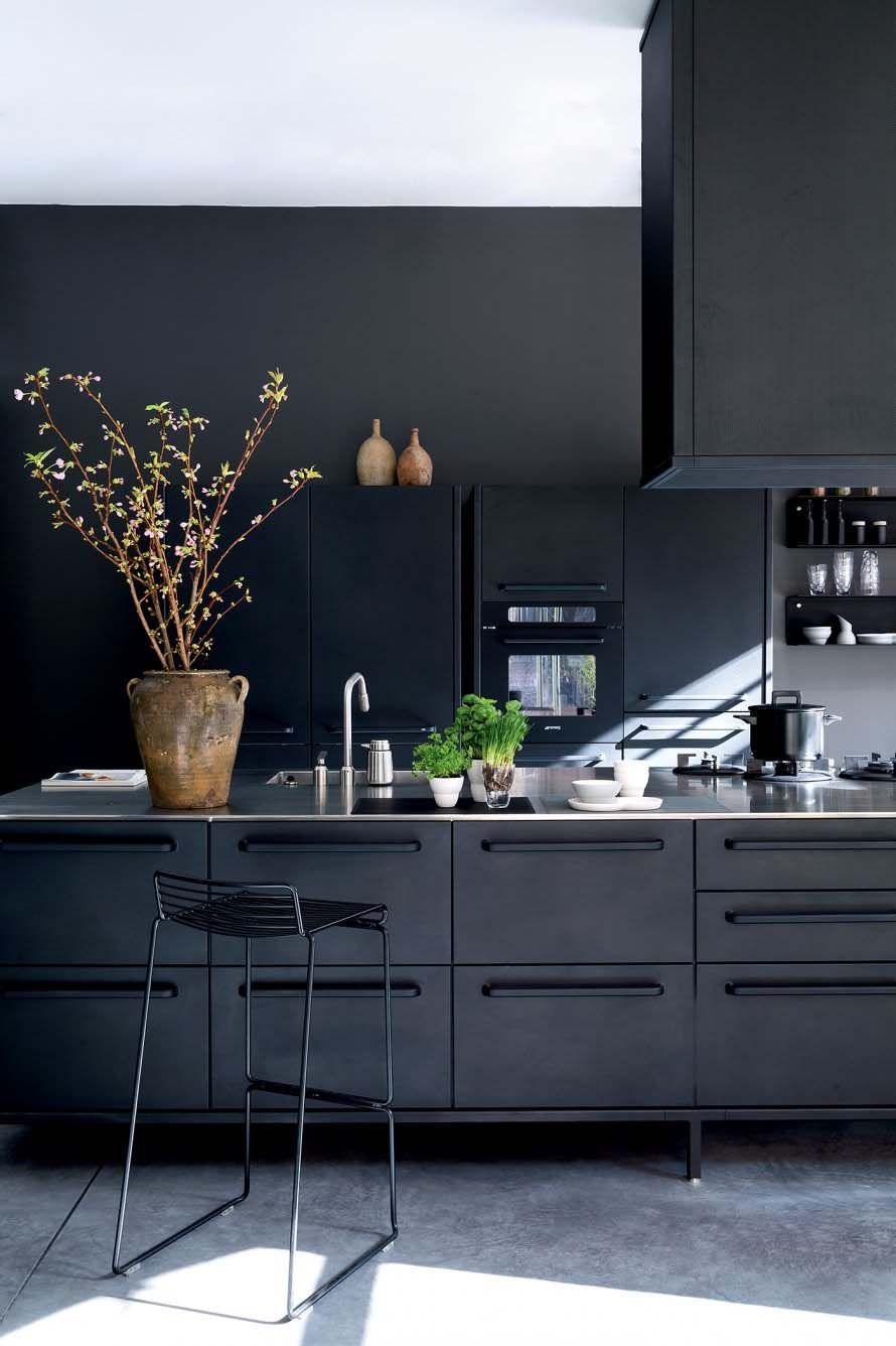 43 Dramatic Black Kitchens That Make A Bold Statement Modern Black Kitchen Modern Kitchen Interior Design Kitchen