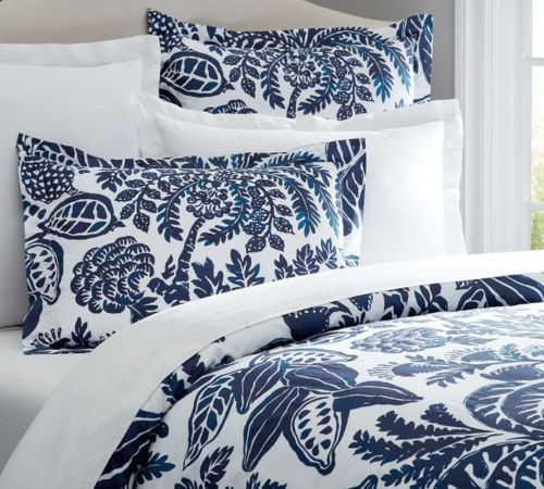 Pottery Barn Rae Full Queen Duvet Cover New Navy Blue White Floral