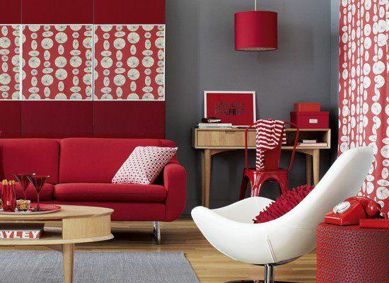 Sala roja 1 Ideas para decorar mi casa Pinterest Rojo