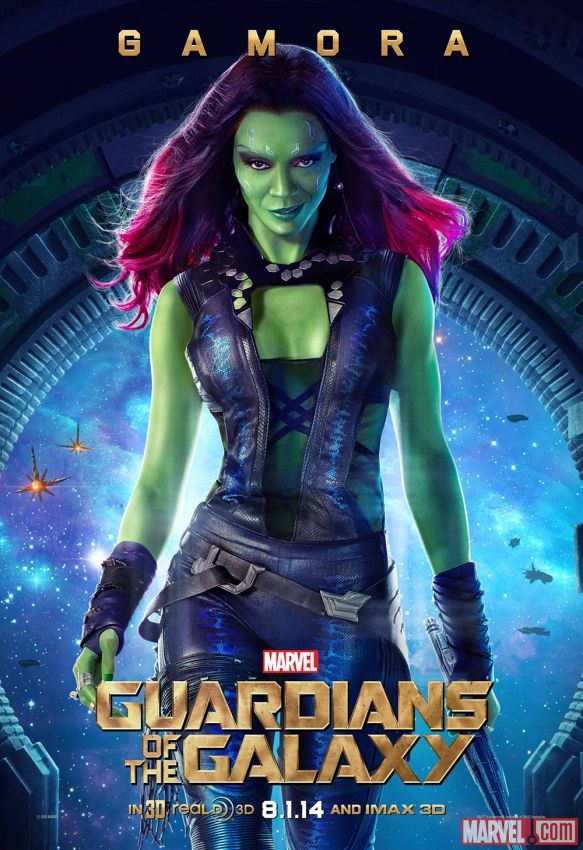 """Marvel's """"Guardians of the Galaxy"""" Gamora character poster, played by Zoe Saldana. Visit http://Facebook.com/GuardiansoftheGalaxy for all the news and info!"""