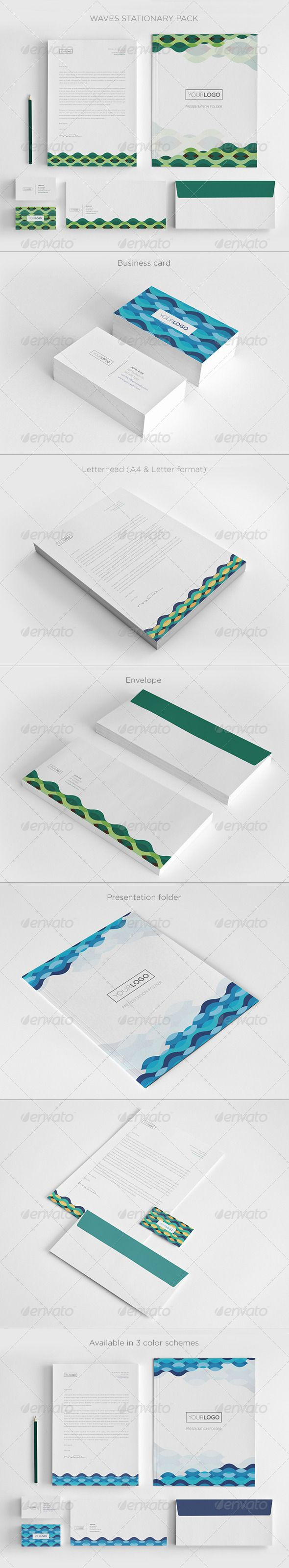 Waves Stationary Pack  Presentation Folder Print Templates And