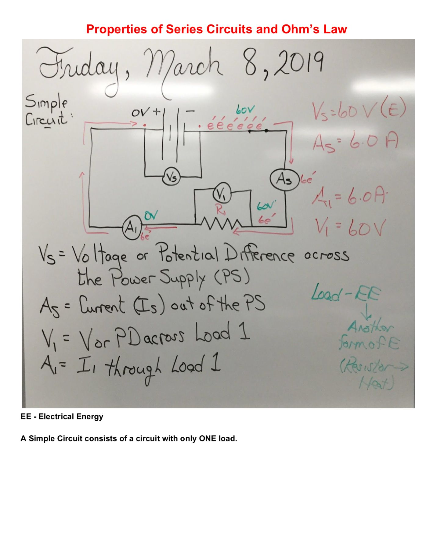 Properties Of Series Circuits And Ohm S Law Note Friday March 8 2019 Ohms Law Law Notes Ohms