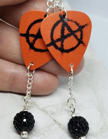 Red And Black Anarchy Guitar Pick Earrings With Black Pave Bead Dangles Pave Beads Beaded Dangles Guitar Pick Jewelry