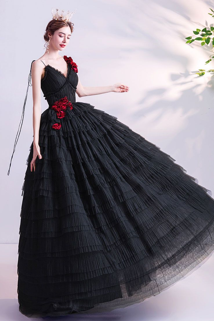 Lace Up Layered Black Prom Dress With Roses Dresses Prom Dresses For Teens Prom Dresses [ 1107 x 738 Pixel ]