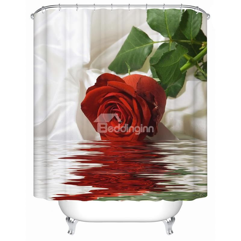 New Arrival Vivid Rose Image 3d Shower Curtain Cool Shower