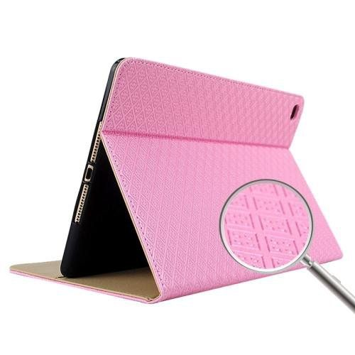 For+iPad+Air+2+Pink+Plaid+Texture+TPU+Back+Shell+Smart+Cover+Leather+Case+with+Holder