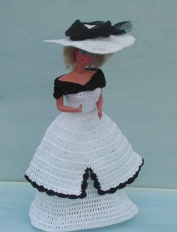 Crochet Fashion Doll Barbie Pattern- #44 YESTERYEAR IN BLACK ...