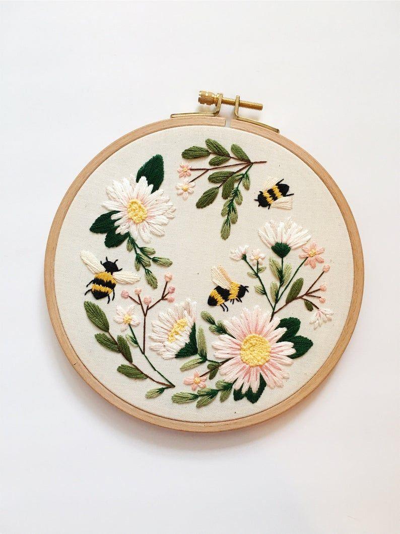 Bumble Bee Embroidery, Spring Wall Art, Bee Embroidery, Gift for Mom, Gift for Bee Lover, Bumble Bee Fiber Art, Maggie Jos Studio