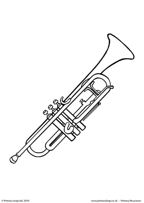 primaryleapcouk trumpet colouring page worksheet