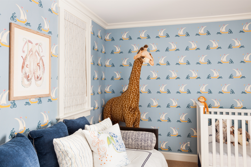 plush design little girl room. Bright  patterned wallpaper makes a nautical splash in this baby boy s room A sense 7 Baby Boy Room Ideas That Are Playfully Sophisticated Octopus