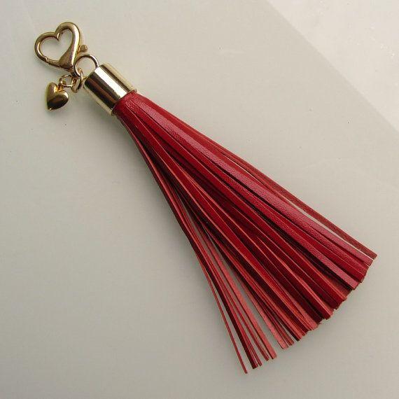 2368566805 Leather tassel keychain   leather tassel bag charm in black italian ...