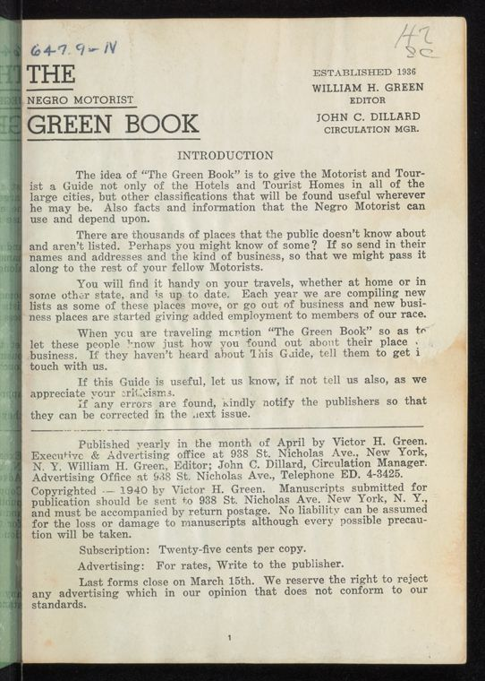 The Green Book Travel For Blacks Http Digitalcollections Nypl