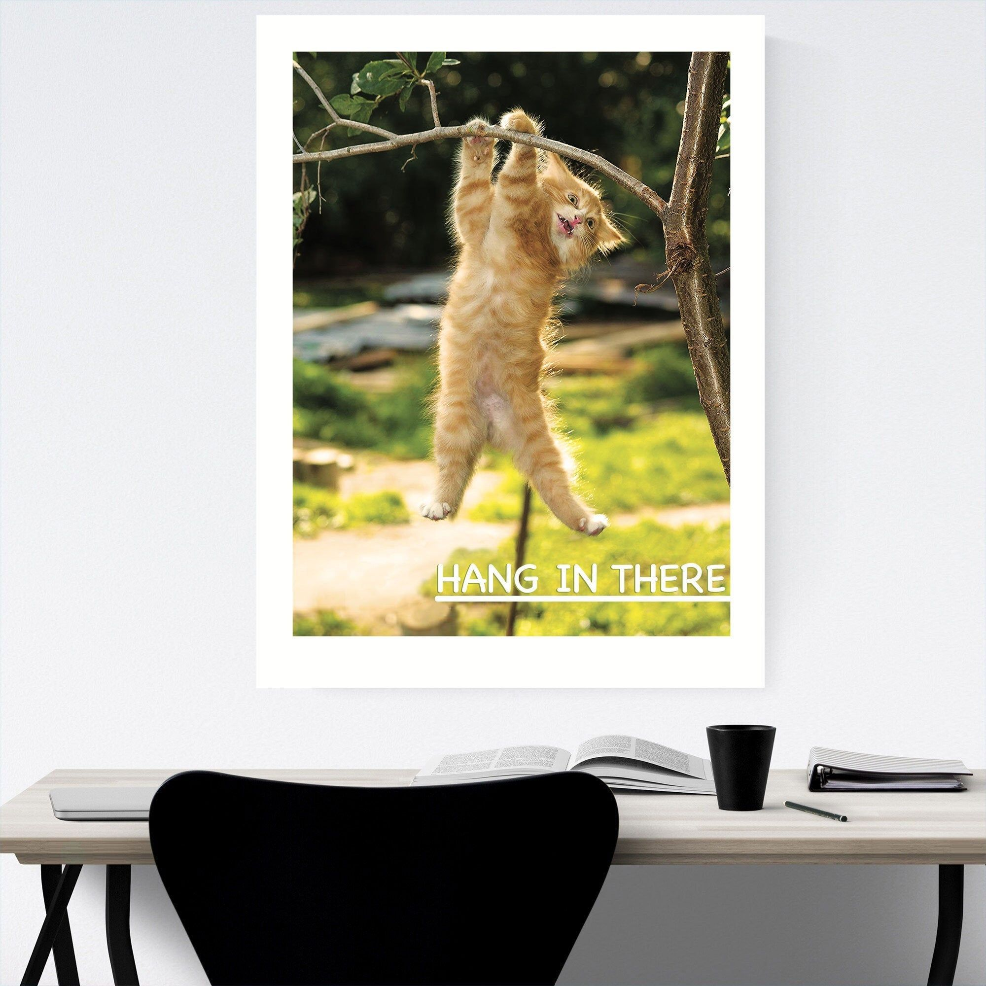 Hang In There Kitten Poster The Office Wall Art Cute Office Etsy In 2020 Office Wall Art Cute Office Decor Cute Office