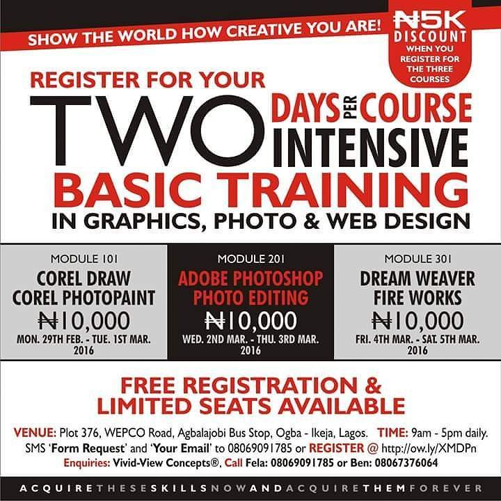 REGISTRATION IN PROGRESS!!! Are you a CEO MD Graduate or aspiring creative person that imagine things but couldn't articulate it with the aid of computer in Graphics Photo Editing and Web Design?  Then REGISTER NOW @ http://ow.ly/XMDPn or send SMS 'Form Request & your email' to 08069091785. Hurry NOW!!! Limited seats available. Please share with friends. Thanks and regards.