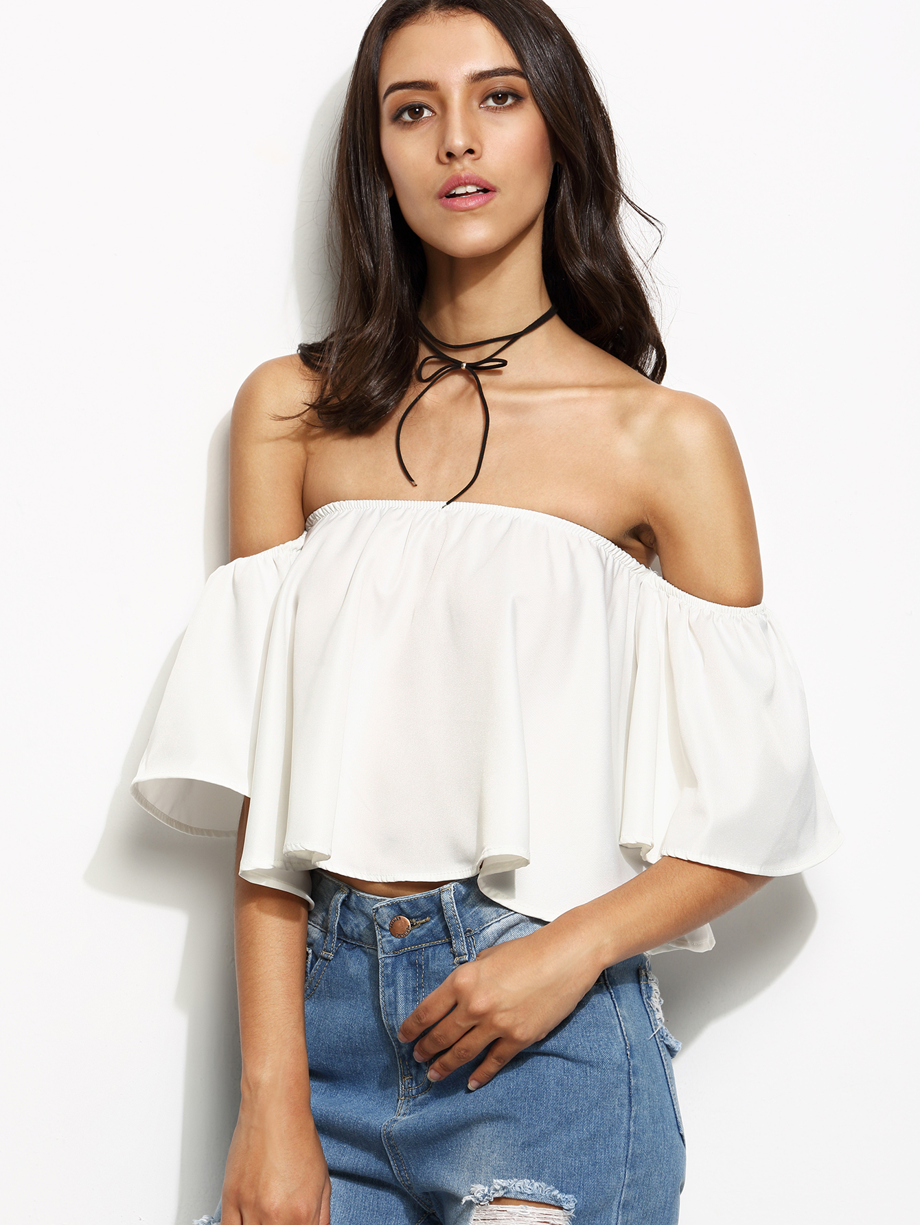 3d3f04859e7653 Shop White Off The Shoulder Ruffle Crop Top online. SheIn offers White Off  The Shoulder Ruffle Crop Top   more to fit your fashionable needs.