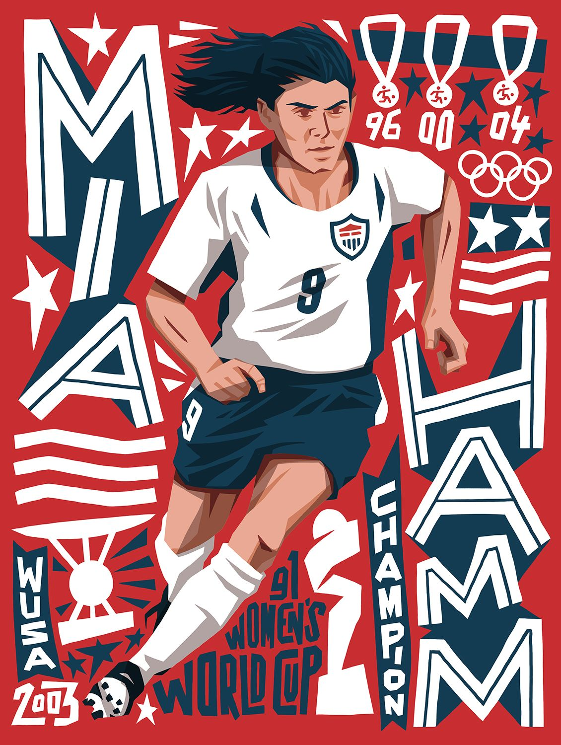 Mia Hamm By Lawerta Illustration For Fifa 1904 Official Magazine Usa Soccer Women Mia Hamm Soccer Girl Problems