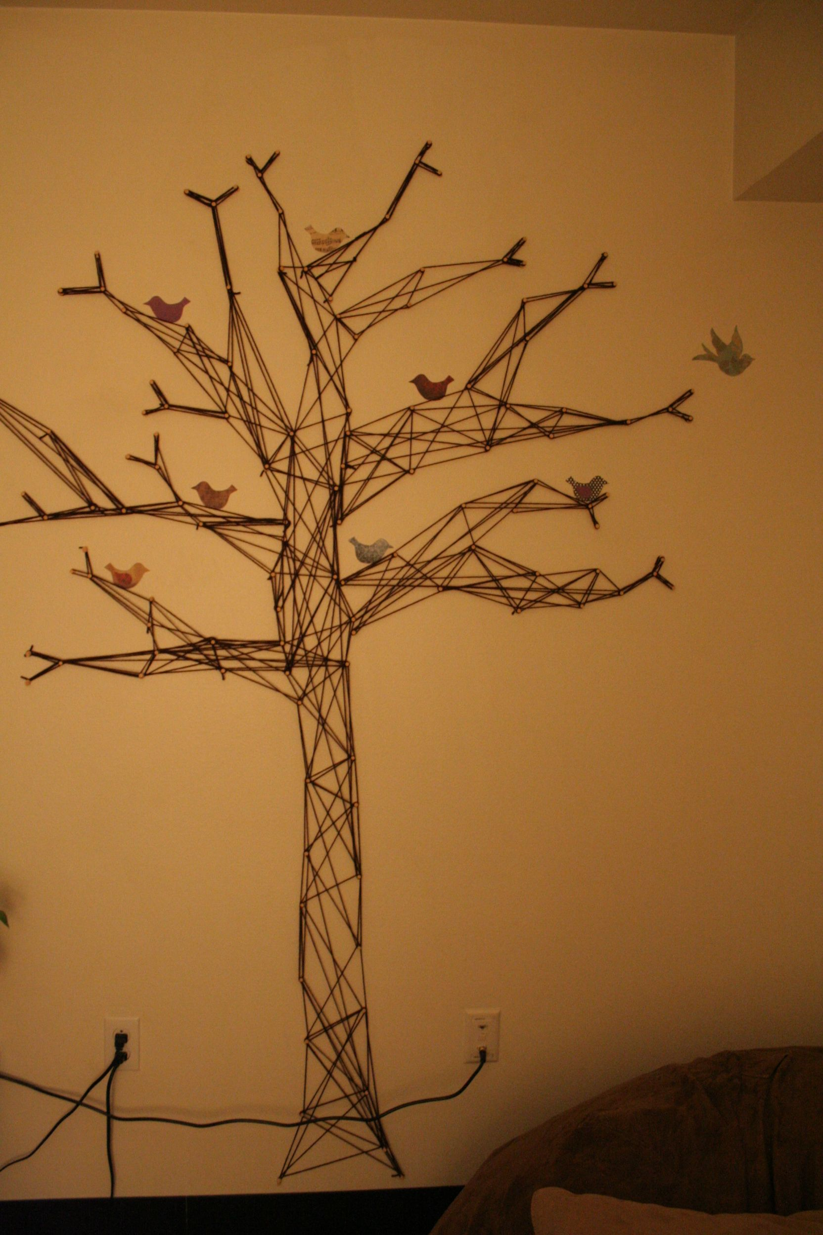 Wall Tree Made Out Of Yarn And Thumbtacks