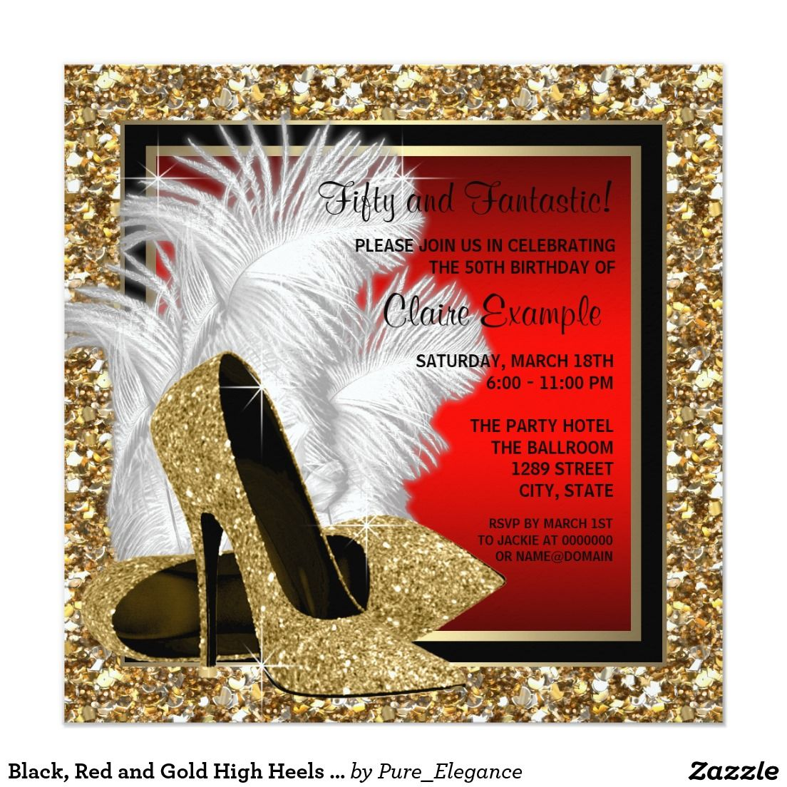Black, Red and Gold High Heels Birthday Party 5.25x5.25 Square ...