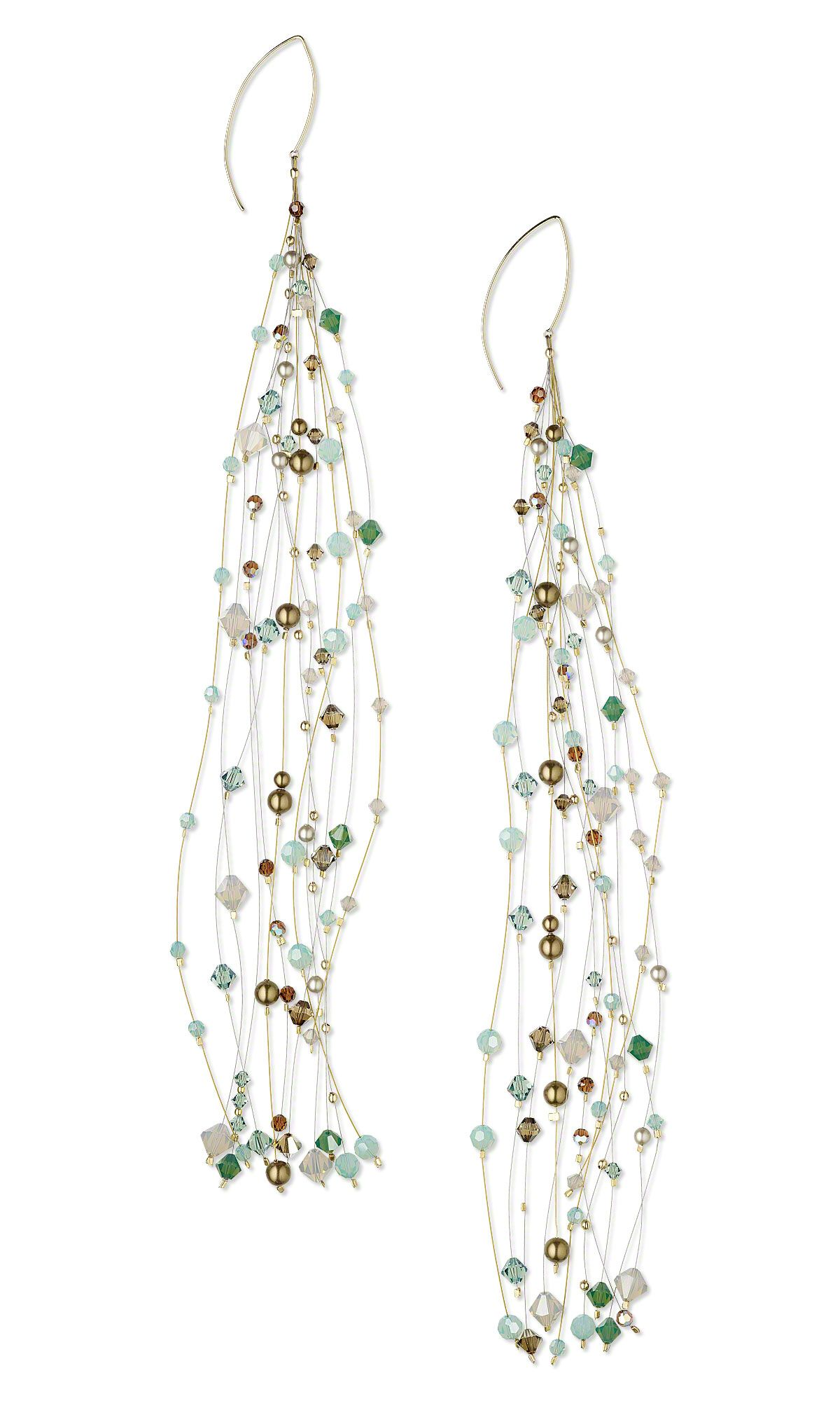 Jewelry Design - Earrings with Swarovski Crystal Beads and Pearls ...