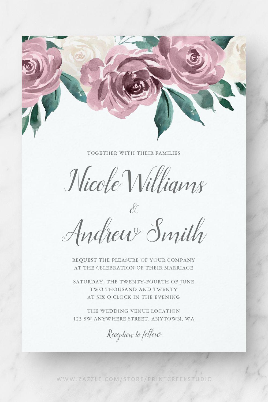 Pink Watercolor Floral Download Wedding Invite Template Watercolor Wedding Invitation Suite Hadley Designs Watercolor Wedding Invite Set