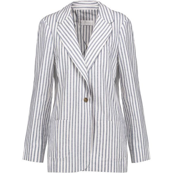 Zimmermann - Zephyr Striped Cotton And Linen-blend Blazer (12.090 RUB) ❤  liked on Polyvore featuring outerwear, jackets, blazers, storm blue, blue  striped ...