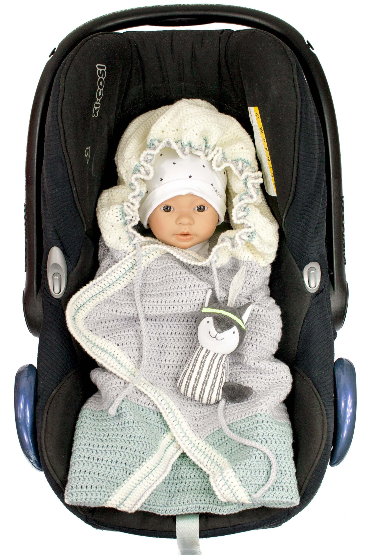 Mit dieser Anleitung kannst du diese tolle Decke für die Babyschale ...