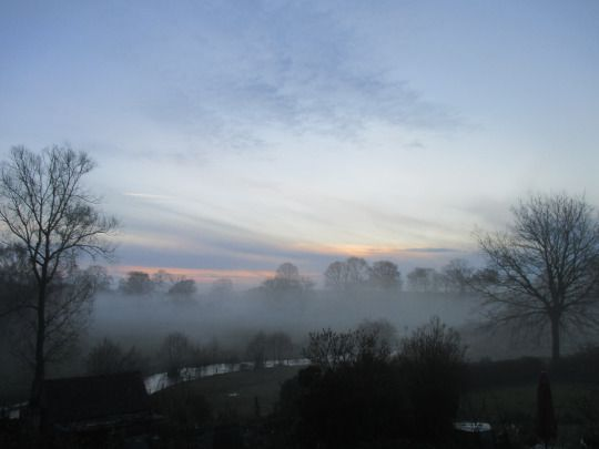 Shropshire dawn  Anthony Sargeant took this photograph from the bedroom window of his Shropshire home on the 4th April 2016 at around 6.30 am. The River Corve is swollen from the recent rains and can be seen wending its way through the water meadows below the house.