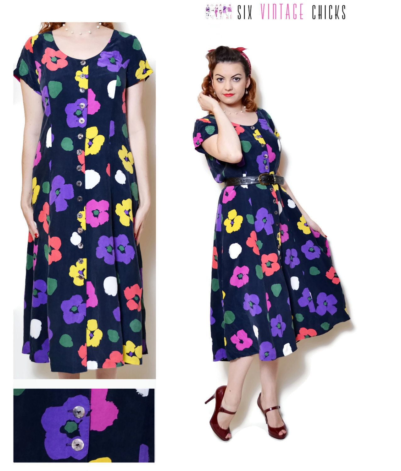 7bcac008b floral Dress women casual summer dresses hippie clothes sexy gifts vintage  clothing boho chic button down dress short sleeve 90s midi L by  SixVintageChicks ...