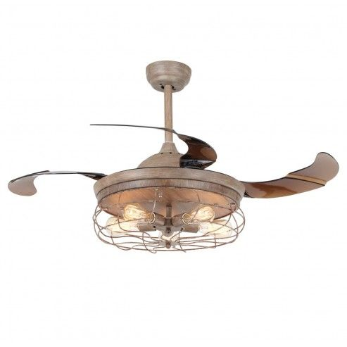 42 inch rustic caged ceiling fan with light and remote fandelier invisible retractable blades weathered oak wood