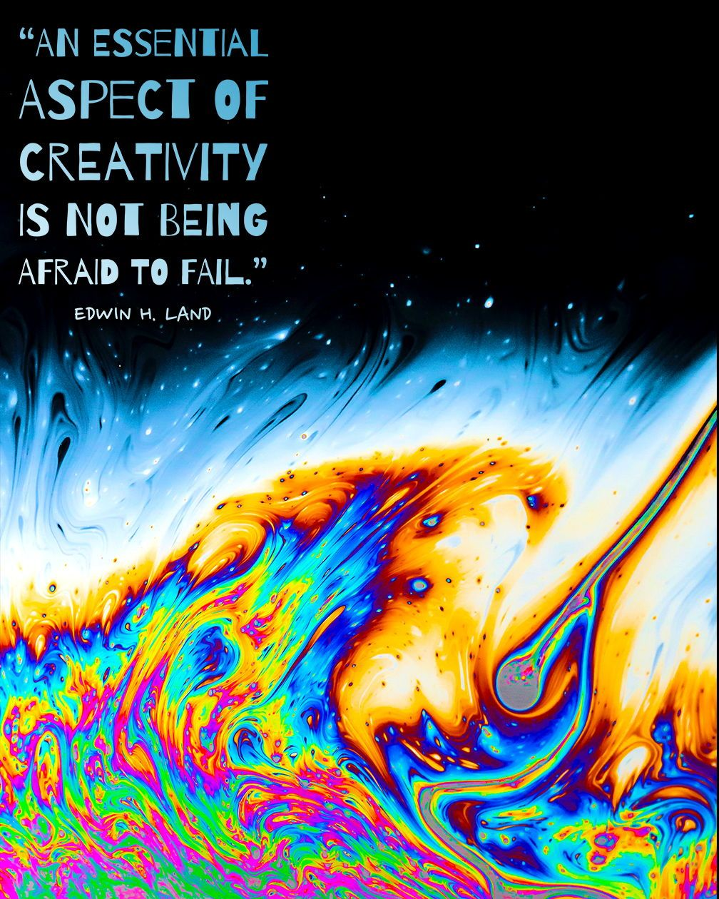 An Essential Part Of Creativity Abstract Color Swirl Quote