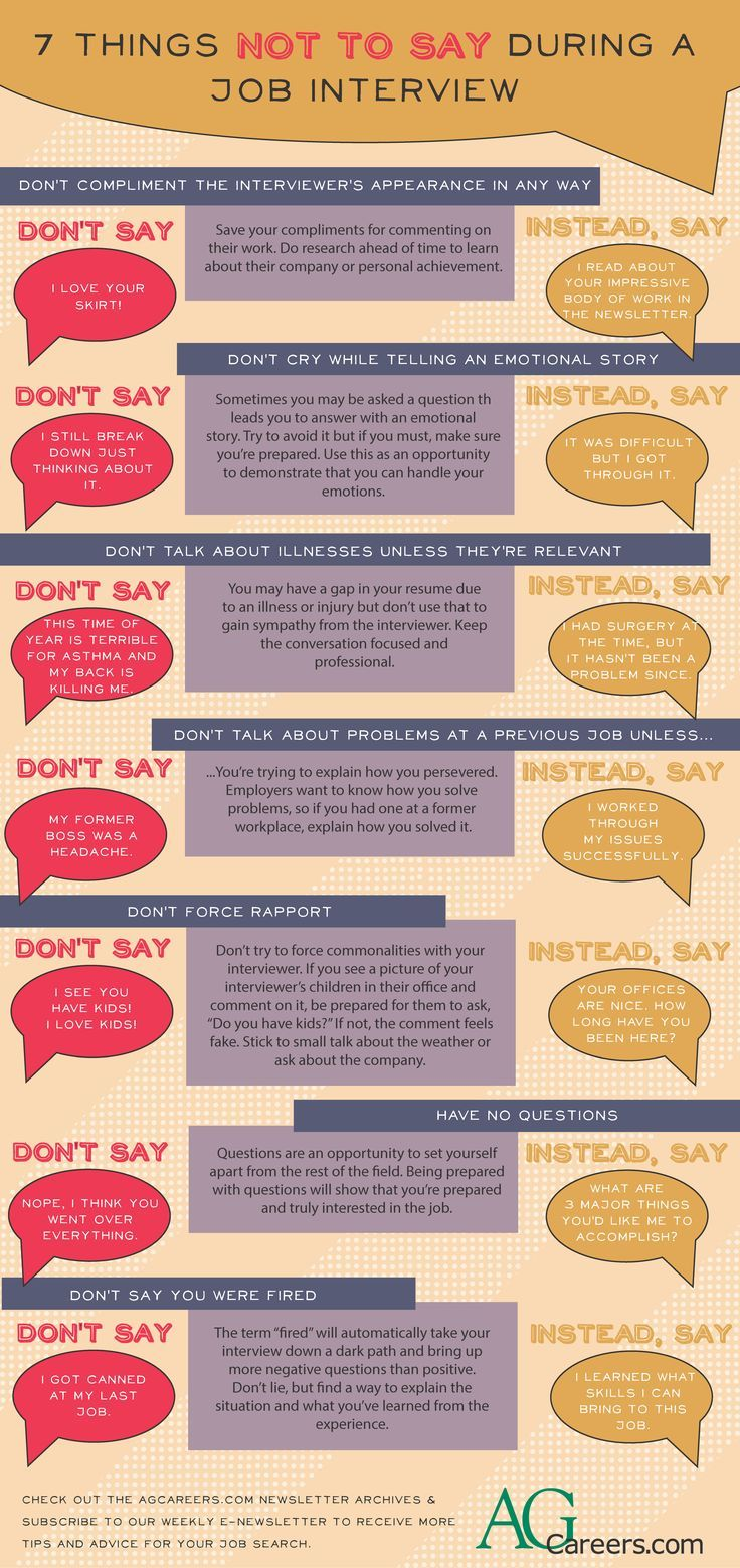 7 Things Not To Say During An Interview Office Space Pinterest