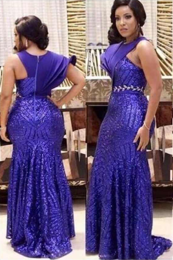 c2db9c036b Fashion Design Royal Blue Mermaid Evening Dresses One Short Sleeve ...