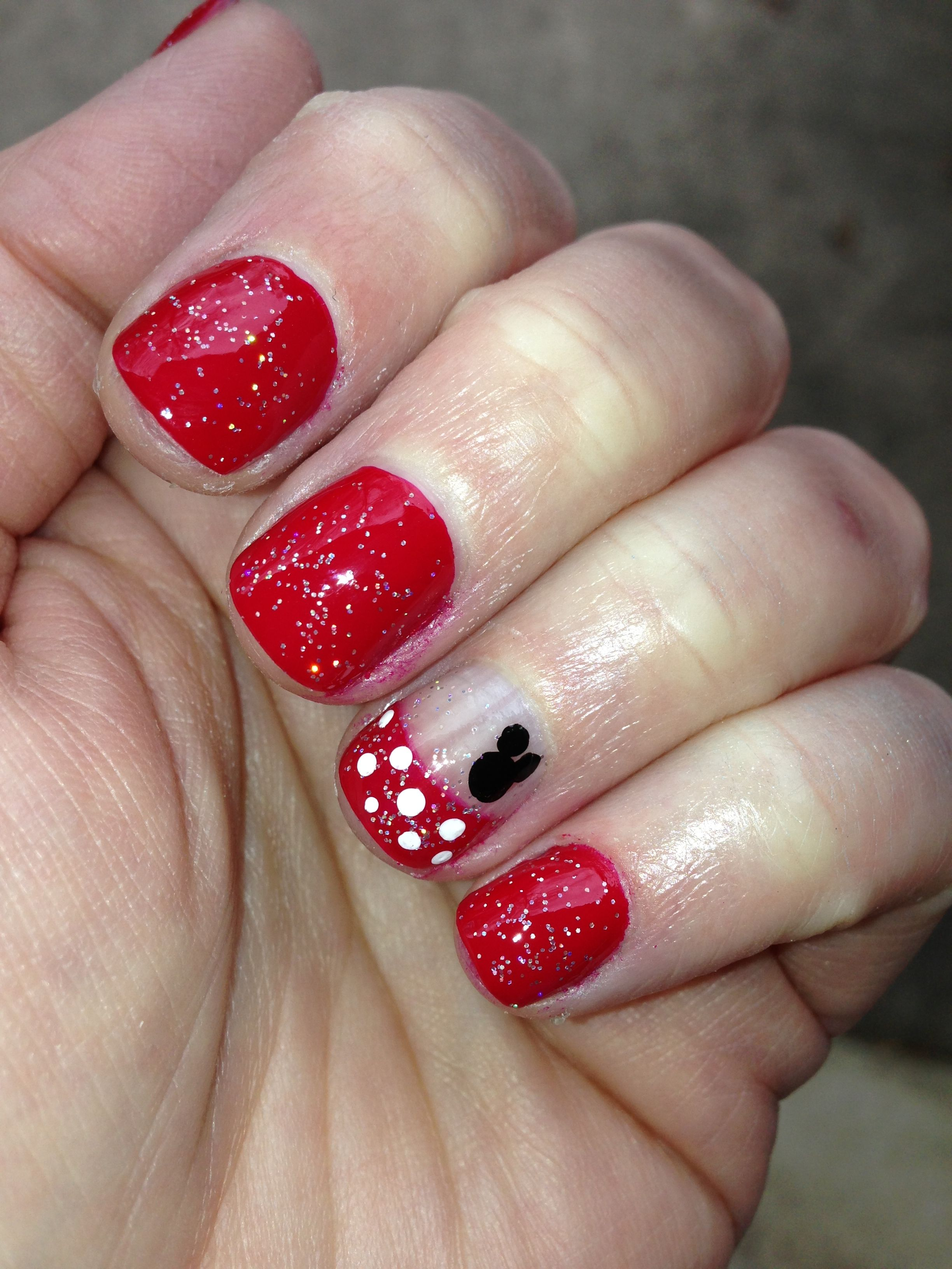 my Disney nails! I think I want gold and then 1 french with gold ...