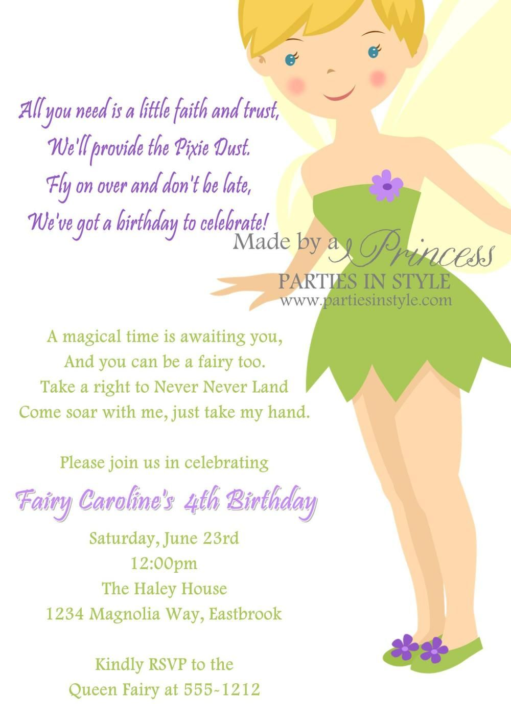 sooo cute birthday invitation princess series tinkerbell