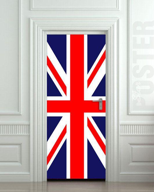 Door Sticker British Flag Uk Banner Great Britain English Poster 30x79 77x200cm Door Stickers British Flag Union Jack Decor