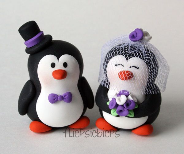 Customise Penguin Wedding Cake Topper | Penguins, Wedding cake and Cake