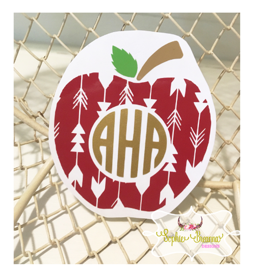 Teacher Apple Custom Monogram Decal Shop Sophie Breanna Designs - Custom vinyl decals etsy