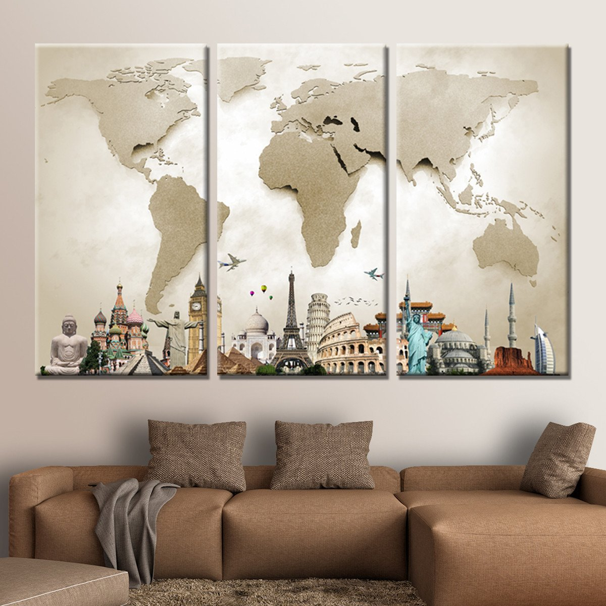 World map masterpiece multi panel canvas wall art in