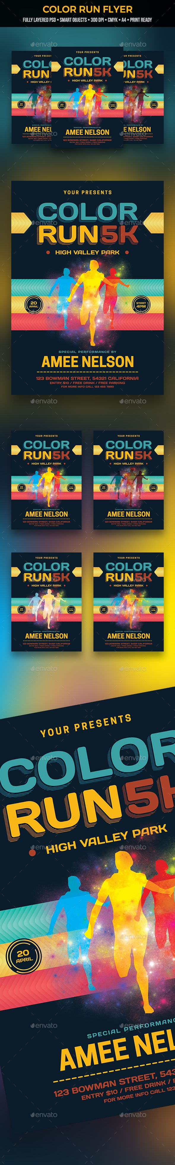 color run flyer flyer template event flyers and font logo