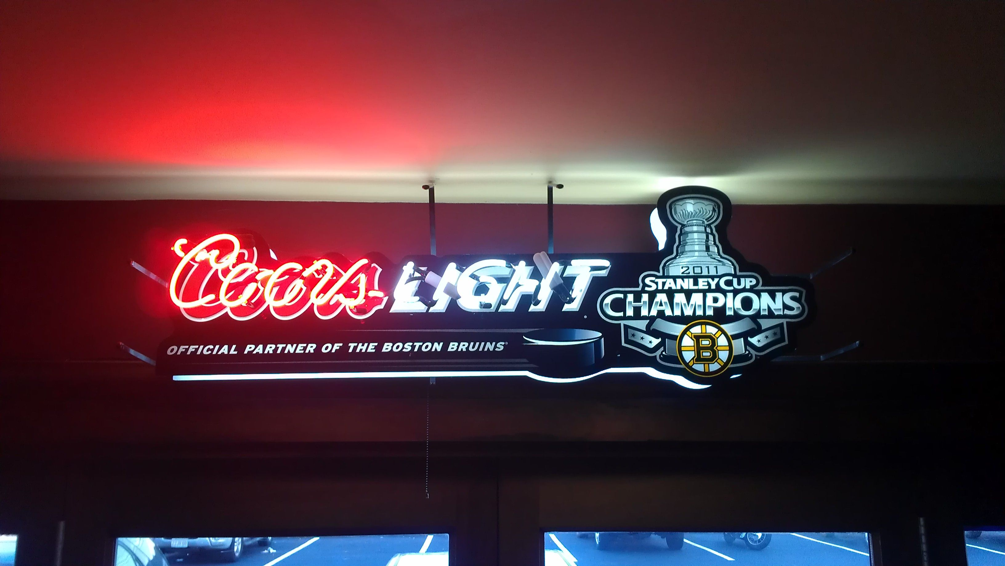 Coors Light Boston Bruins Neon sign at a restaurant in Cape Cod friggin awesome