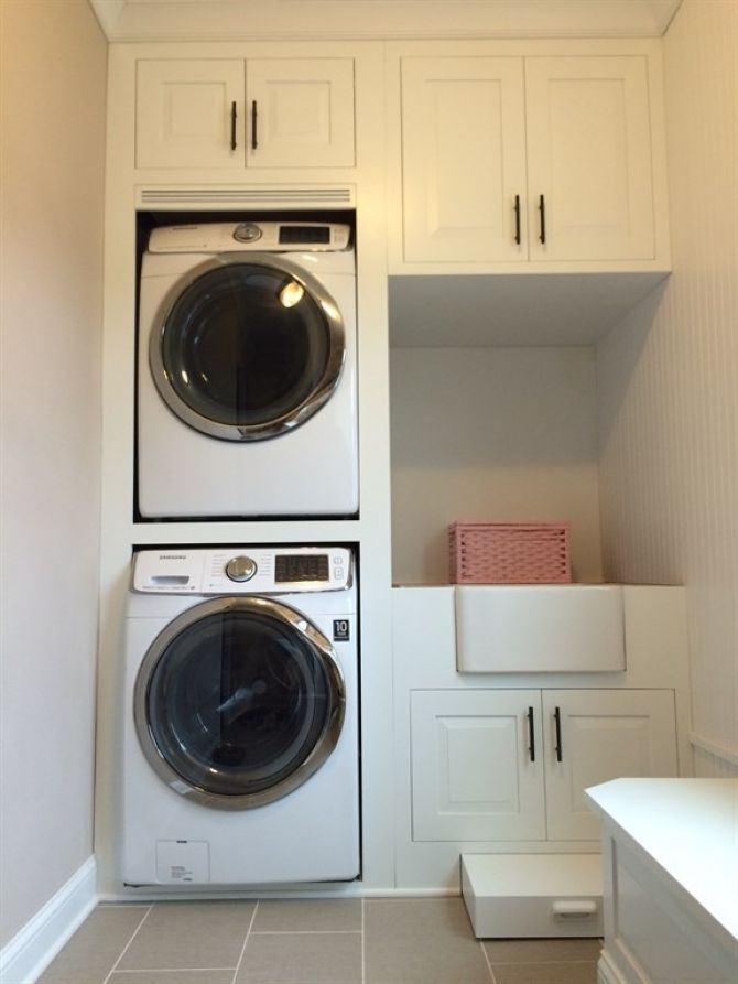 Laundry Closet Makeover Stackable