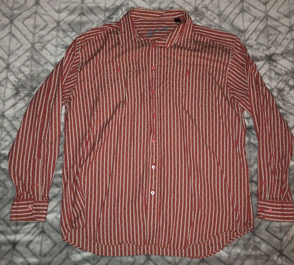 d94199c7cfc Mens Bugatchi Uomo Textured Vertical Stripped LS Button Up 2XL Orange White   fashion  clothing  shoes  accessories  mensclothing  shirts (ebay link)